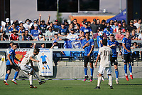 SAN JOSE, CA - AUGUST 8: Oswaldo Alanis #4, Tanner Beason #15, and Jackson Yueill #14 of the San Jose Earthquakes make a wall during a game between Los Angeles FC and San Jose Earthquakes at PayPal Park on August 8, 2021 in San Jose, California.