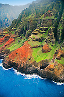 Open-ceiling cave backed by Honopu Valley, Na Pali coast, Kauai, Hawaii, Pacific Ocean