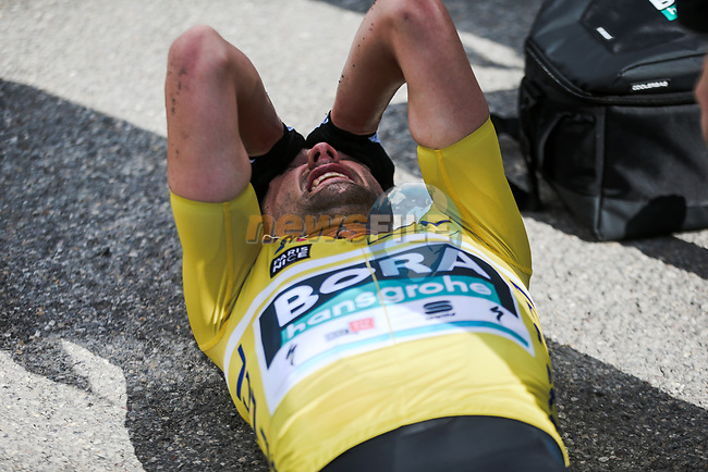 Yellow Jersey Maximilian Schachmann (GER) Bora-Hansgrohe after crossing the finish line of Stage 7 to win the 78th edition of Paris-Nice 2020, running 166.5km from Nice to Valdeblore La Colmiane, France. 14th March 2020.<br /> Picture: ASO/Fabien Boukla | Cyclefile<br /> All photos usage must carry mandatory copyright credit (© Cyclefile | ASO/Fabien Boukla)