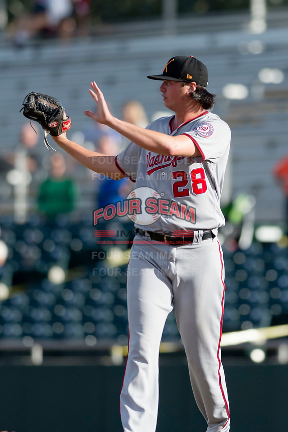 Salt River Rafters relief pitcher Jordan Mills (28), of the Washington Nationals organization, during the Arizona Fall League Championship Game against the Peoria Javelinas at Scottsdale Stadium on November 17, 2018 in Scottsdale, Arizona. Peoria defeated Salt River 3-2 in 10 innings. (Zachary Lucy/Four Seam Images)