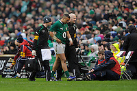 Simon Zebo of Ireland limps off injured with a broken foot during the RBS 6 Nations match between Ireland and England at the Aviva Stadium, Dublin on Sunday 10 February 2013 (Photo by Rob Munro)