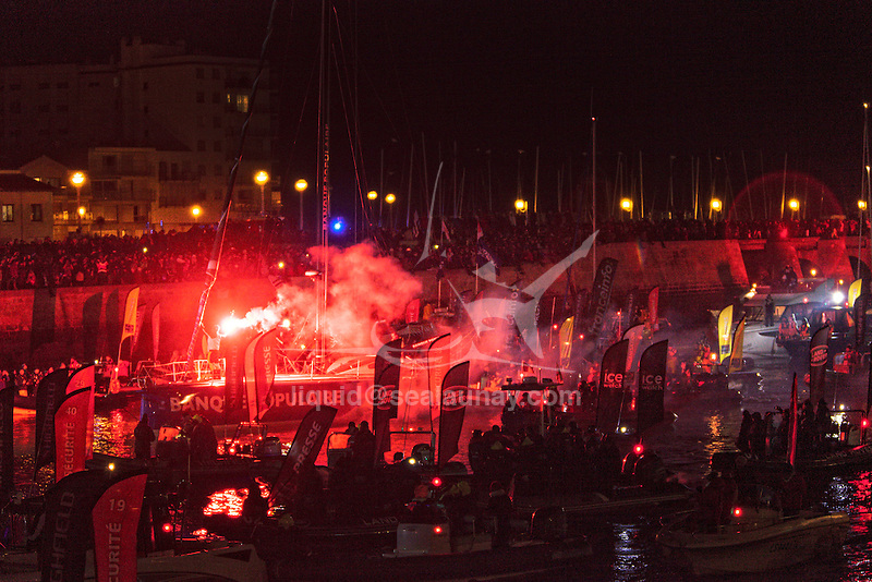 Armel Le Cléac'h crossed the Vendée Globe finish line today, setting a new Vendee Globe and solo round-the-world record of 74 days, 3 hours, 35 minutes and 46 seconds..The VendÈe Globe is a round-the-world single-handed yacht race, sailed non-stop and without assistance.
