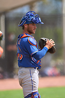 New York Mets catcher Matt O'Neill (48) during a Minor League Spring Training game against the Houston Astros on April 27, 2021 at FITTEAM Ballpark of the Palm Beaches in Palm Beach, Fla.  (Mike Janes/Four Seam Images)