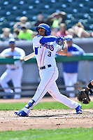 Tennessee Smokies left fielder Charcer Burks (3) swings at a pitch during a game against the Jackson Generals at Smokies Stadium on April 11, 2018 in Kodak, Tennessee. The Generals defeated the Smokies 6-4. (Tony Farlow/Four Seam Images)