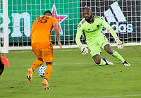 CARSON, CA - OCTOBER 28: Kenneth Vermeer #1 of the Los Angeles FC defending his goal during a game between Houston Dynamo and Los Angeles FC at Banc of California Stadium on October 28, 2020 in Carson, California.