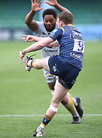14th February 2021; Sixways Stadium, Worcester, Worcestershire, England; Premiership Rugby, Worcester Warriors versus Wasps; Levi Douglas of Wasps tries to charge down Gareth Simpson of Worcester Warriors' kick