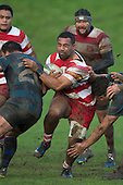 Siulongoua Fotofili crashes in to Robert Katu as he makes a run upfield. Counties Manukau Premier Club Rugby game between Karaka and Onewhero, played at Karaka on Saturday June 25th 2016. Karaka won the game 15 - 10 after leading 10 - 3 at halftime.<br />  Photo by Richard Sprnger.