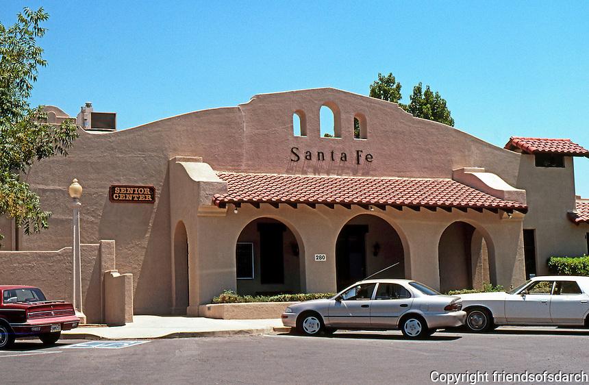 Mission RR Stations: Santa Fe RR Station, Porterville, CA.--1918. Now a Senior Center. Photo 2000.