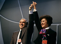Le congres du NPD, mars 1987 au Palais des congres. Shirley Carr<br /> <br /> Montreal (Qc) Canada  file Photo -  march 1987 - NDP national convention in Montreal -- Ed Broadbent, New Democratic Party  (NPD) Leader  (L) and Shirley Carr
