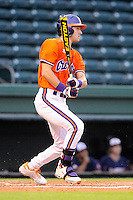 Outfielder Steven Duggar (9) of the Clemson Tigers in a fall scrimmage against College Lafleche from Canada on October 17, 2013, at Fluor Field at the West End in Greenville, South Carolina. (Tom Priddy/Four Seam Images)