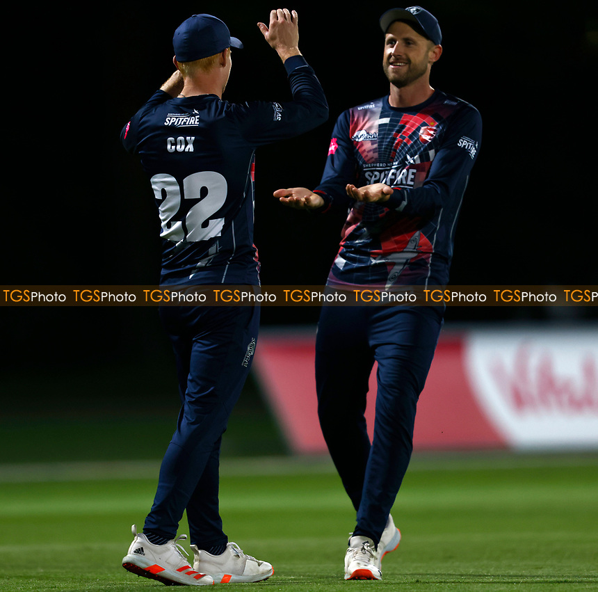 Jordan Cox of Kent is congratulated by Alex Blake after taking a catch to dissmiss Ian Holland during Kent Spitfires vs Hampshire Hawks, Vitality Blast T20 Cricket at The Spitfire Ground on 9th June 2021