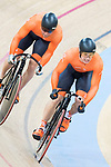 The team of Netherlands with Jefrey Hoogland, Harrie Lavreysen and Matthijs Buchli compete in Men's Team Sprint Finals match as part of the 2017 UCI Track Cycling World Championships on 12 April 2017, in Hong Kong Velodrome, Hong Kong, China. Photo by Victor Fraile / Power Sport Images