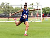 HOUSTON, TX - JUNE 8: Carli Lloyd #10 of the USWNT takes a shot during a training session at the University of Houston on June 8, 2021 in Houston, Texas.