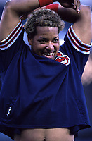 Manny Ramirez of the Cleveland Indians during a 2000 season MLB game at Angel Stadium in Anaheim, California. (Larry Goren/Four Seam Images)