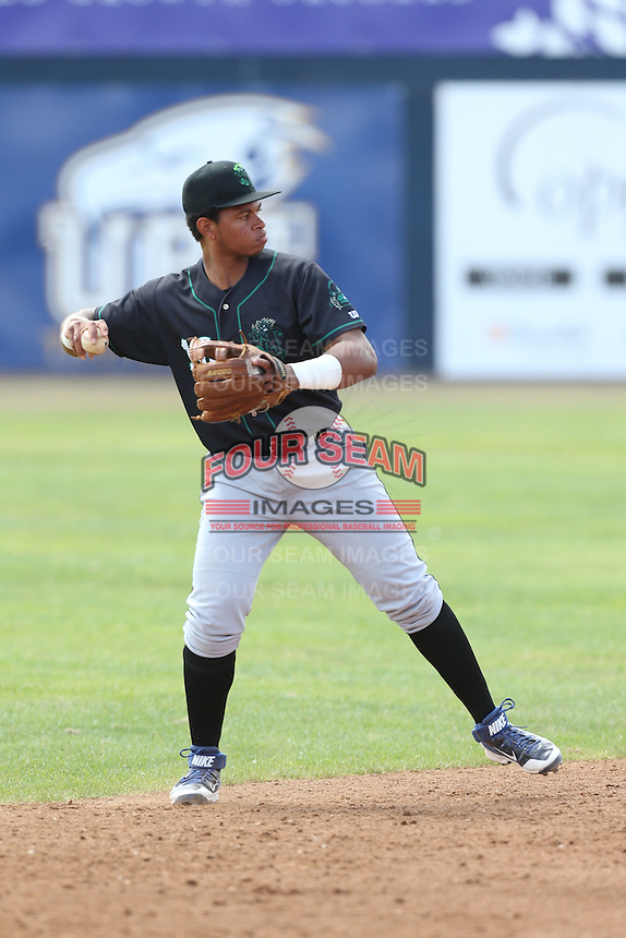 Adonis Paula (16) of the Eugene Emeralds makes a throw during a game against the Vancouver Canadians at Nat Bailey Stadium on July 22, 2015 in Vancouver, British Columbia. Vancouver defeated Eugene, 4-2. (Larry Goren/Four Seam Images)