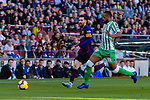 Lionel Andres Messi of FC Barcelona (L) competes for the ball with Sidnei Rechel Da Silva Junior of Real Betis during the La Liga 2018-19 match between FC Barcelona and Real Betis at Camp Nou, on November 11 2018 in Barcelona, Spain. Photo by Vicens Gimenez / Power Sport Images