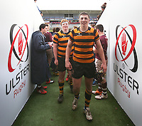 CAI vs RBAI | Tuesday 3rd March 2015<br /> <br /> Lewis McNamara and John Dickson after the 2015 Ulster Schools Cup Semi-Final between Coleraine Inst and RBAI at the Kingspan Stadium, Ravenhill Park, Belfast, Northern Ireland.<br /> <br /> Picture credit: John Dickson / DICKSONDIGITAL
