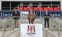 Ulster Schools' Cup Winners 2020<br /> <br /> Ulster Branch President Gary Leslie (left) is pictured at Kingspan Stadium with The Wallace High School captain Ruben Crothers and Richard Caldwell representing sponsors Danske Bank when the famous Schools' Cup trophy was presented to Royal School Armagh. The St. Patrick's Day final against Wallace High Schools was cancelled cue to COCID-19 as a consequence the Cup will he shared for the 2019-2020 season.  Photo by John Dickson / Dicksondigital