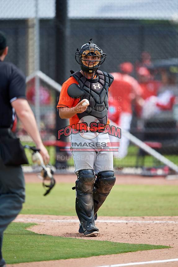 Miami Marlins Michael Hernandez (20) during a Minor League Spring Training game against the Washington Nationals on March 28, 2018 at FITTEAM Ballpark of the Palm Beaches in West Palm Beach, Florida.  (Mike Janes/Four Seam Images)