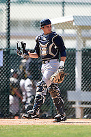 Catcher Trent Garrison (63) of the New York Yankees organization during a minor league spring training game against the Pittsburgh Pirates on March 22, 2014 at Pirate City in Bradenton, Florida.  (Mike Janes/Four Seam Images)