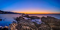 Colorful moonlit twilight on Pointe Nard Viou and Cap Negre near Saint Clair beach, Le Lavandou resort town, French Riviera (Côte d'Azur) France
