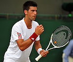 June 29, 2009.Novak Djokovic of Serbis, in action, defeating Dudi Sela of Isreal, 6-2, 6-4, 6-1 in the fourth round of the Wimbledon Championships at the All England Lawn Tennis Club, Wimbledon, England