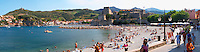The beach in the village. Collioure. Roussillon. France. Europe.