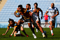 25th April 2021; Ricoh Arena, Coventry, West Midlands, England; English Premiership Rugby, Wasps versus Bath Rugby; Malakai Fekitoa of Wasps is brought down by Joe Cokanasiga of Bath Rugby