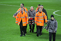 Pictured: Dorus de Vries of Swansea City goes down injured<br /> Re: Coca Cola Championship, Swansea City Football Club v Queens Park Rangers at the Liberty Stadium, Swansea, south Wales 21st October 2008.