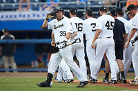 Ben Breazeale (39) of the Wake Forest Demon Deacons looks towards the crowd after hitting a walk-off 2-run home run in the bottom of the 11th inning against the Florida Gators in the completion of Game Two of the Gainesville Super Regional of the 2017 College World Series at Alfred McKethan Stadium at Perry Field on June 12, 2017 in Gainesville, Florida. The Demon Deacons walked off the Gators 8-6 in 11 innings. (Brian Westerholt/Four Seam Images)