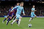 UEFA Champions League 2019/2020.<br /> Matchday 4.<br /> FC Barcelona vs SK Slavia Praha: 0-0.<br /> Clement Lenglet vs Petr Sevcik.