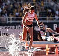 4th July 2021; Stockholm Olympic Stadium, Stockholm, Sweden; Diamond League Grand Prix Athletics, Bauhaus Gala; Gesa Krause makes a splash in the 3000m steeple chase