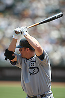 OAKLAND, CA - AUGUST 16:  Jim Thome #25 of the Chicago White Sox bats against the Oakland Athletics during the 1929-themed turn back the clock game at the Oakland-Alameda County Coliseum on August 16, 2009 in Oakland, California. Photo by Brad Mangin
