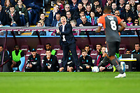 Dean Smith Manager of Aston Villa shouts instructions to his team from the dug-out during the Sky Bet Championship match between Aston Villa and Swansea City at Villa Park in Birmingham, England, UK.  Saturday 20 October  2018
