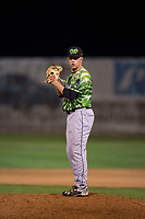 Eugene Emeralds relief pitcher Riley McCauley (23) gets ready to deliver a pitch during a Northwest League game against the Salem-Keizer Volcanoes at Volcanoes Stadium on August 31, 2018 in Keizer, Oregon. The Eugene Emeralds defeated the Salem-Keizer Volcanoes by a score of 7-3. (Zachary Lucy/Four Seam Images)