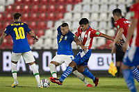 8th June 2021; Defensores del Chaco Stadium, Asuncion, Paraguay; World Cup football 2022 qualifiers; Paraguay versus Brazil;   Robert Rojas of Paraguay challenges Richarlison of Brazil