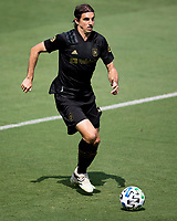LOS ANGELES, CA - AUGUST 22: Dejan Jakovic #5 of the LAFC moves with the ball during a game between Los Angeles Galaxy and Los Angeles FC at Banc of California Stadium on August 22, 2020 in Los Angeles, California.