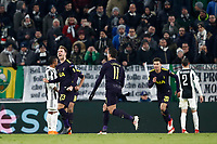 Football Soccer: UEFA Champions League Juventus vs Tottenahm Hotspurs FC Round of 16 1st leg, Allianz Stadium. Turin, Italy, February 13, 2018. <br /> Tottenham's Christian Eriksen (l) celebrates with his teammates after scoring during the Uefa Champions League football soccer match between Juventus and Tottenahm Hotspurs FC at Allianz Stadium in Turin, February 13, 2018.<br /> UPDATE IMAGES PRESS/Isabella Bonotto