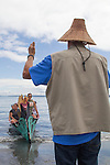Canoe Journey, Paddle to Nisqually, 2016, Marlin Holden, Executive Director of the Jamestown S'Kallam Tribe welcomes Swinomish tribal canoes landing,  Port Townsend, Fort Worden, en route to Olympia, Washington State, Olympic Peninsula, Puget Sound, Salish Sea, USA,