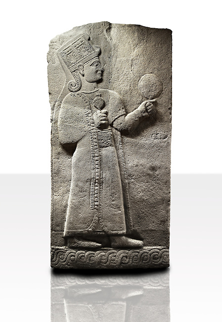 Picture & image of a Neo-Hittite orthostat showing a releif sculpture  of the Goddess Kubaba from Karkamis,, Turkey. Museum of Anatolian Civilisations, Ankara. 5 In her right hand she is holding a pomegranate