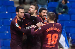 Gerard Pique Bernabeu of FC Barcelona (C) celebrates after scoring his goal with his teammates during the La Liga 2017-18 match between RCD Espanyol and FC Barcelona at RCDE Stadium on 04 February 2018 in Barcelona, Spain. Photo by Vicens Gimenez / Power Sport Images