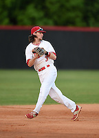 Lake Mary Rams shortstop Brendan Rodgers (3) throws to second to double off the runner after catching a line drive during a game against the Lake Brantley Patriots on April 2, 2015 at Allen Tuttle Field in Lake Mary, Florida.  Lake Brantley defeated Lake Mary 10-5.  (Mike Janes/Four Seam Images)