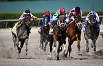 HALLANDALE FL - FEBRUARY 27: Cathryn Sophia #5, ridden by Javier Castellano overtakes R Girls a Charmer #6, ridden by Luis Saez and Lewis Bay #4, ridden by Irad Ortiz Jr. as she goes on to win the Fasig-Tipton Davona Dale Stakes at Gulfstream Park on February 27, 2016 in Hallandale, Florida.(Photo by Alex Evers/Eclipse Sportswire/Getty Images)