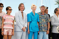 """CANNES, FRANCE - JULY 13: Lyna Khoudri, Wes Anderson, Tilda Swinton, Bill Murray at photocall for the film """"The French Dispatch"""" at the 74th annual Cannes Film Festival in Cannes, France on July 13, 2021 <br /> CAP/GOL<br /> ©GOL/Capital Pictures"""