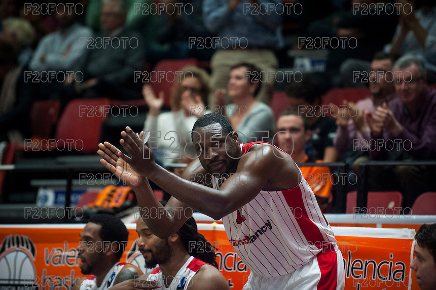 VALENCIA, SPAIN - NOVEMBER 18: Florent Pietrus during EUROCUP match between Valencia Basket Club and CAI SLUC Nancy at Fonteta Stadium on November 18, 2015 in Valencia, Spain