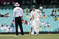 8th January 2021; Sydney Cricket Ground, Sydney, New South Wales, Australia; International Test Cricket, Third Test Day Two, Australia versus India; Steve Smith of Australia waits for a fielding adjustment from India