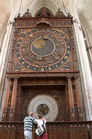 Astronomical clock in St. Mary's church in Rostock, Germany. Clock built in 1472, Rostock Germany