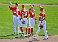 20 May 2012: The Washington Nationals celebrate a win over the Baltimore Orioles at Nationals Park in Washington, DC. The Nationals defeated the Orioles 9-3 to salvage the third game of their 3-game series. Mandatory Credit: Ed Wolfstein Photo