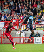 Roarie Deacon of Crawley Town  and Marcus Bean of Wycombe Wanderers during the Sky Bet League 2 match between Crawley Town and Wycombe Wanderers at Checkatrade.com Stadium, Crawley, England on 29 August 2015. Photo by Liam McAvoy.