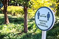 Social Distancing Sign, During Coronavirus Pandemic, National Gallery of Art Sculpture Garden, Washington DC, USA